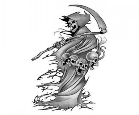 Татуировки смерть с косой при луне