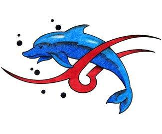 Эскиз тату дельфина с узором 5.