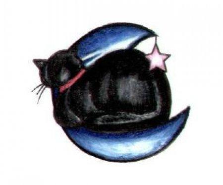 Рисунок флеш тату кошки на месяце со